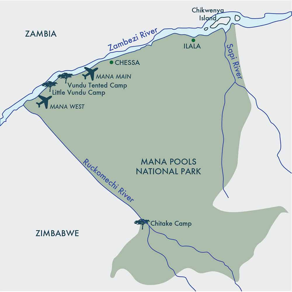 Mana Pools Camp Map